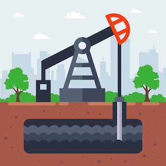Pump oil from the ground illustration