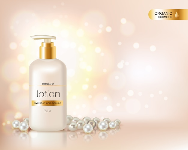 有機化粧品ローションと真珠とglの散乱で飾られたゴールドキャップ付きポンプトップボトル