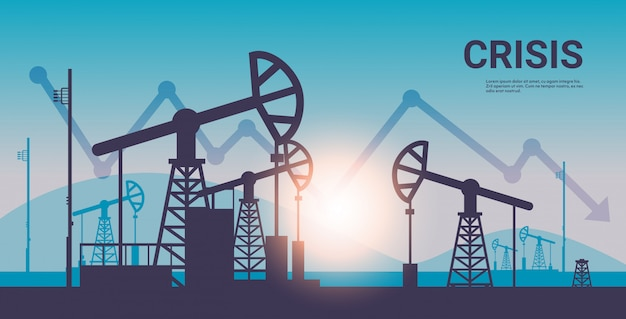 Pumpjack silhouette petroleum production and trade oil industry downward chart arrow falling price crisis concept oil pumps drilling rig sunset background horizontal copy space