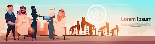 豊富なアラブのビジネスマン石油取引pumpjackリグプラットフォームブラックウェルスコンセプト