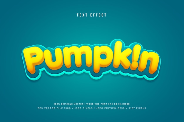 Pumpkin 3d text effect on tosca background