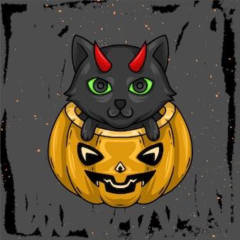 ハロウィンのカボチャと猫の手描きイラスト