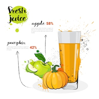 Pumpkin apple mix cocktail of fresh juice hand drawn watercolor glass on white background