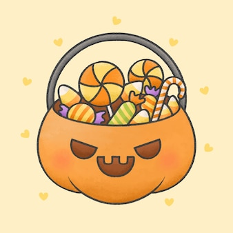 Pumpkin basket with candies cartoon hand drawn style
