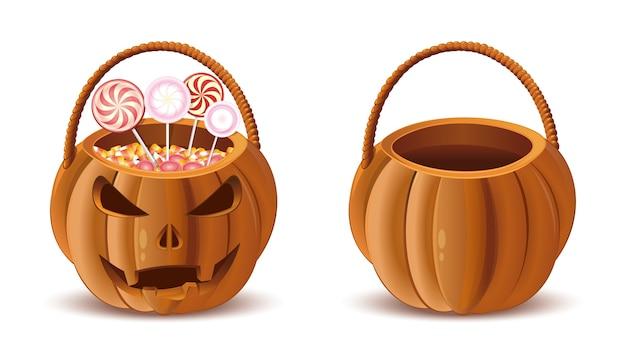 お菓子用のカボチャバスケット。ハロウィンバスケットセット。ジャック・オー・ランタンのバスケット。孤立