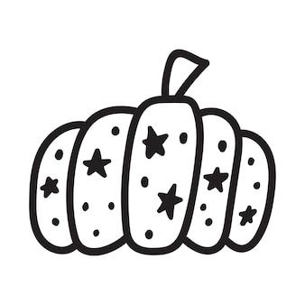 Тыква черно-белый значок каракули тыква эскиз векторные иллюстрации овощной наброски