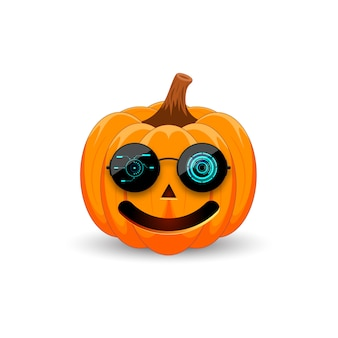 Pumpkin in black sunglasses with hud holiday happy halloween.