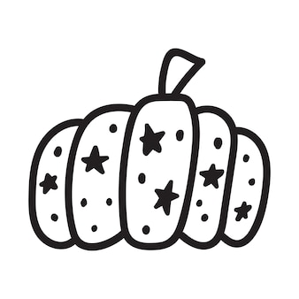 Pumpkin black and white icon doodle pumpkin sketch vector illustration of vegetable outline