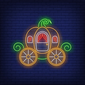 Pumpkin carriage neon sign