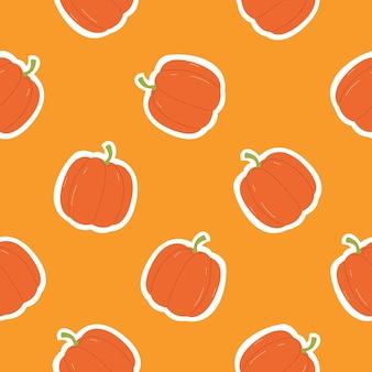 Pumpkin in cartoon flat style seamless pattern for autumn background