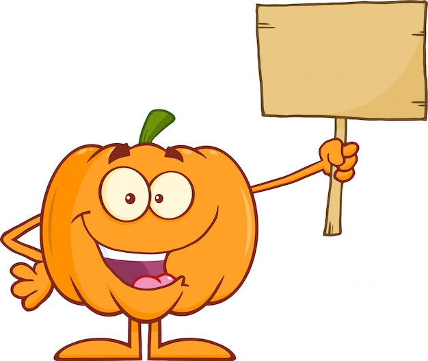 Pumpkin cartoon mascot character holding a wooden board
