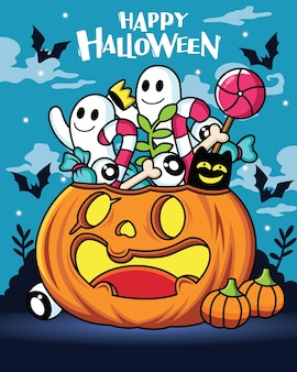 Pumpkin cartoon with cute expression with halloween decoration