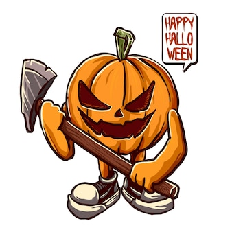 A pumpkin character hold a weapon vector illustration