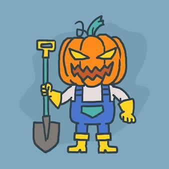Pumpkin character holding shovel and smiling. hand drawn character. vector illustration