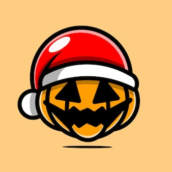 Pumpkin character with christmas hat