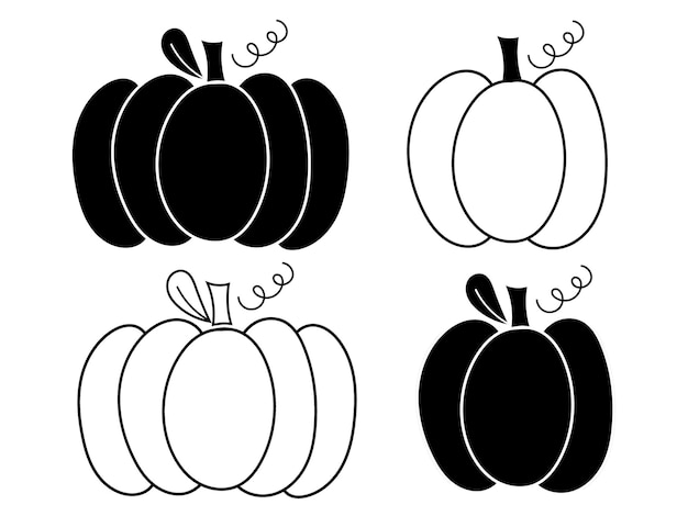 Pumpkin clipart - outlines and silhouettes. vector illustration.