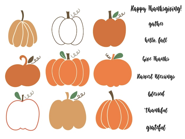 Pumpkin clipart and thanksgiving lettering quotes. vector illustration.