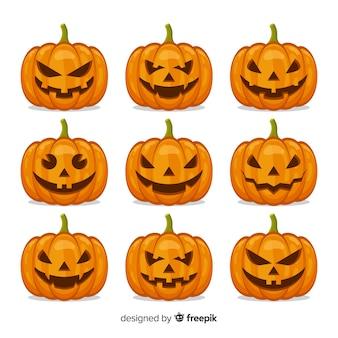 Collezione di zucca per arredamento di halloween