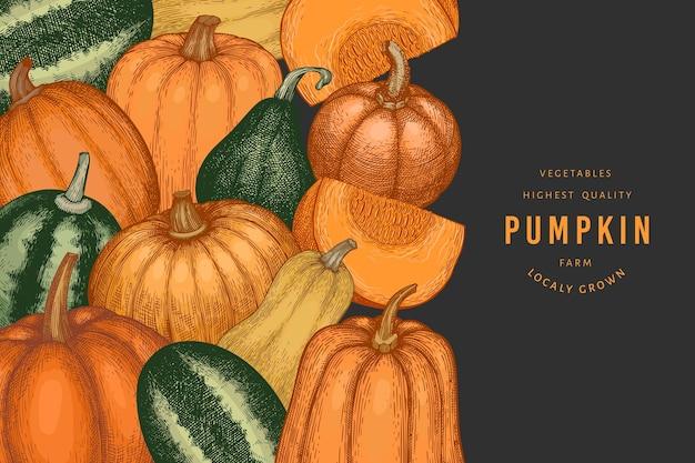 Шаблон оформления цвета тыквы. вектор рисованной иллюстрации. фон благодарения в стиле ретро с урожаем тыквы. осенний фон.