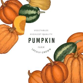 カボチャのカラーテンプレート。手描きイラスト。カボチャの収穫とレトロなスタイルの感謝祭の背景。秋の背景。