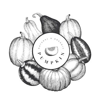 Pumpkin design template. vector hand drawn illustrations. thanksgiving backdrop in vintage style with pumpkin harvest. autumn background.
