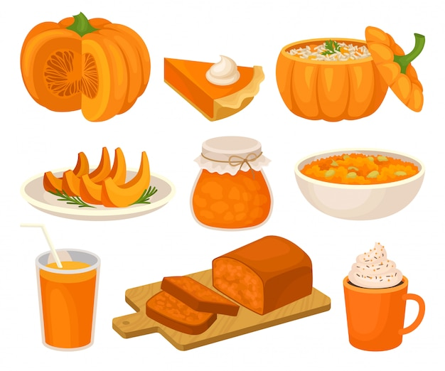 Pumpkin dishes set, pie, jam jar, fruitcake, porridge, spice whipped latte, smoothie  illustration on a white background