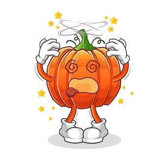Pumpkin dizzy head mascot cartoon character