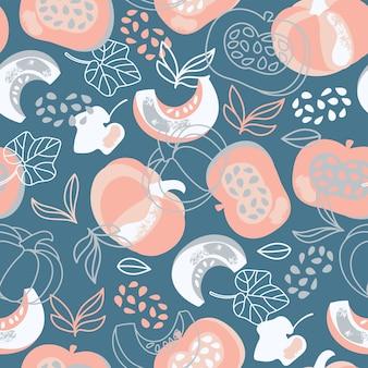 パンプキンドレスおいしい野菜ガーデン手描きテキスタイルシームレスパターンイラストプリント用
