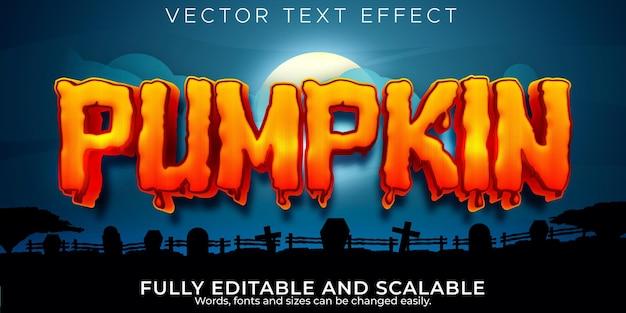 Редактируемый текстовый эффект тыквы, хэллоуин и страшный стиль текста
