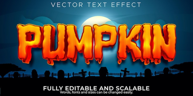 Pumpkin editable text effect, halloween and scary text style