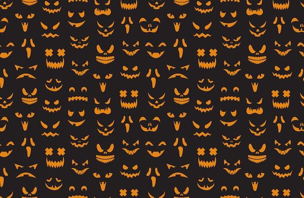 Pumpkin faces seamless pattern