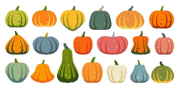 Pumpkin flat icons set.