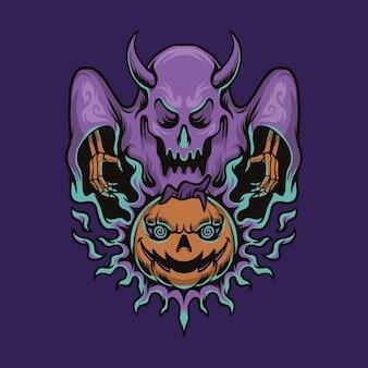 Тыква хэллоуин и призрак иллюстрации шаржа