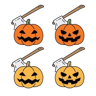 Pumpkin halloween ghost axe cartoon