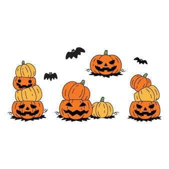 Pumpkin halloween ghost bat cartoon