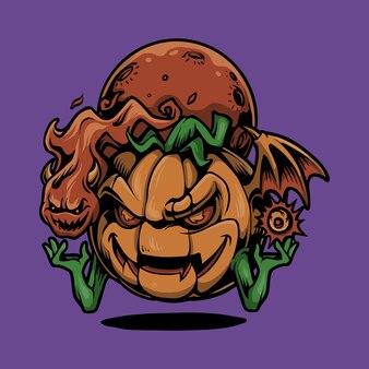 Тыква хэллоуин голова с призрак иллюстрации шаржа