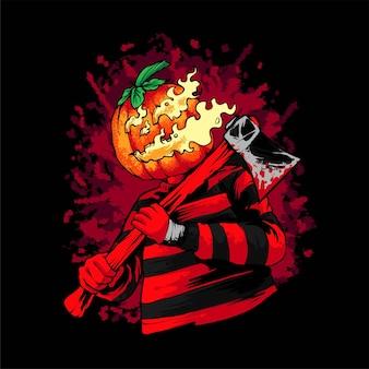 Тыквенная иллюстрация хэллоуина, подходит для футболок, одежды, принтов и товаров
