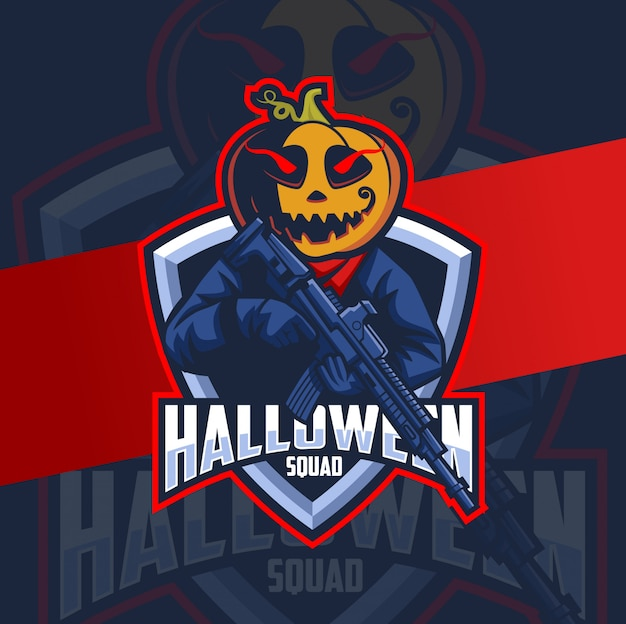 Тыква хэллоуин талисман с оружием отряд дизайн логотипа
