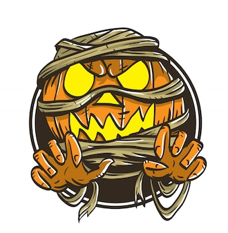 Pumpkin halloween mummy monster vector illustration