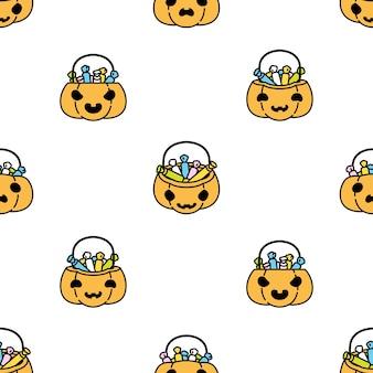 Pumpkin halloween seamless pattern candy basket cartoon