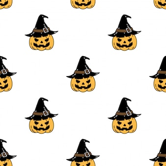 Pumpkin halloween seamless pattern witch hat cartoon