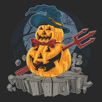 Pumpkin halloween trick or treat red devil artwork