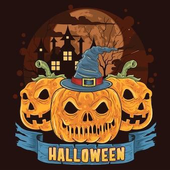 Pumpkin halloween trick or treat skull head artwork
