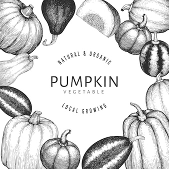 カボチャの手描きイラスト。カボチャの収穫とレトロなスタイルの感謝祭の背景。秋の背景。
