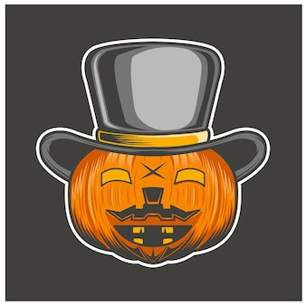 Pumpkin hat smile isolated on gray background