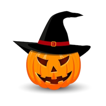 Pumpkin in the hat on white background.