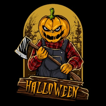 Pumpkin head halloween character