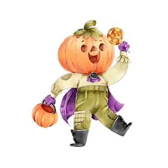 Pumpkin head holding candies happy halloween