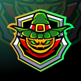 Талисман головы тыквы. киберспорт логотип.