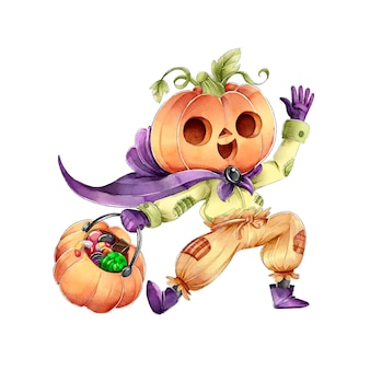 Pumpkin head trick or treat happy halloween